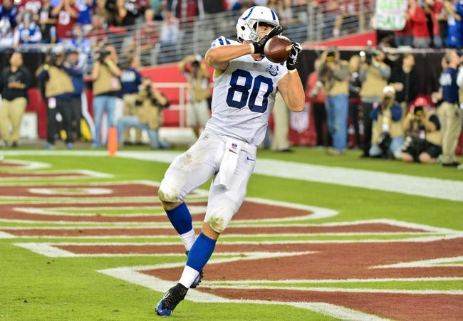Nov 24, 2013; Phoenix, AZ, USA; Indianapolis Colts tight end Coby Fleener (80) catches a 17 yard touchdown during the second half against the Arizona Cardinals at University of Phoenix Stadium. Mandatory Credit: Matt Kartozian-USA TODAY Sports