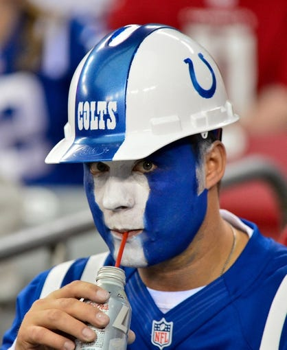 Nov 24, 2013; Phoenix, AZ, USA; An Indianapolis Colts fan drinks beer through a straw to avoid messing up his makeup during the first half against the Arizona Cardinals at University of Phoenix Stadium. Mandatory Credit: Matt Kartozian-USA TODAY Sports