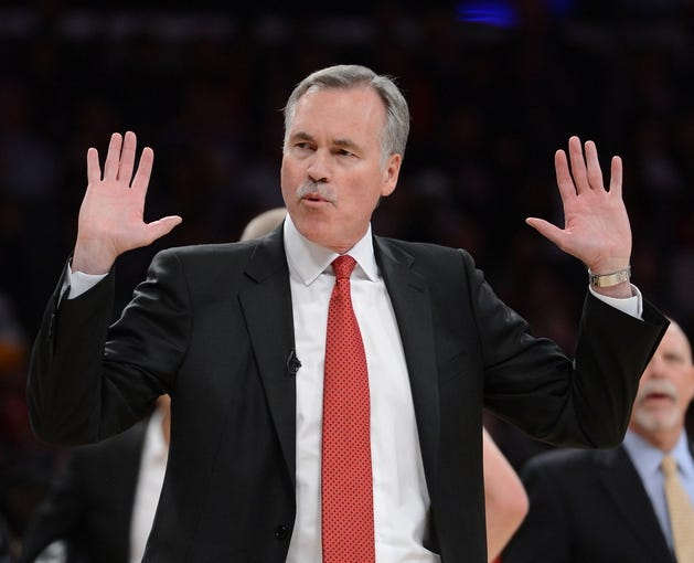 Nov 24, 2013; Los Angeles, CA, USA;  Los Angeles Lakers head coach Mike D'Antoni during the game against the Sacramento Kings at Staples Center. Lakers won 100-86. Mandatory Credit: Jayne Kamin-Oncea-USA TODAY Sports