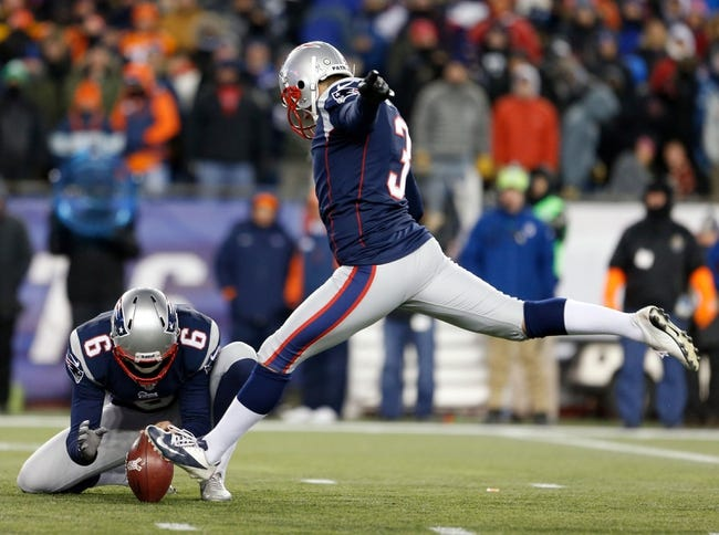 Nov 24, 2013; Foxborough, MA, USA; New England Patriots kicker Stephen Gostkowski (3) kicks a field goal against the Denver Broncos in the fourth quarter at Gillette Stadium. The New England Patriots defeated the Denver Broncos 34-31. Mandatory Credit: David Butler II-USA TODAY Sports