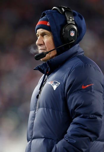 Nov 24, 2013; Foxborough, MA, USA; New England Patriots head coach Bill Belichick watches from the sideline as they take on the Denver Broncos in the fourth quarter at Gillette Stadium. Mandatory Credit: David Butler II-USA TODAY Sports