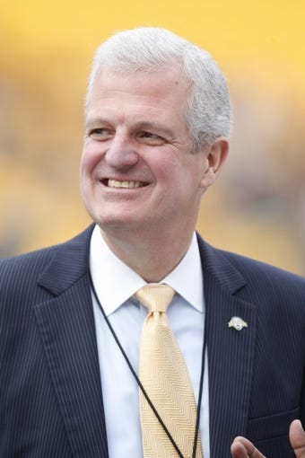 Nov 16, 2013; Pittsburgh, PA, USA; Pittsburgh Panthers athletic director Steve Peterson on the field before the Panthers host the North Carolina Tar Heels at Heinz Field. North Carolina won 34-27. Mandatory Credit: Charles LeClaire-USA TODAY Sports