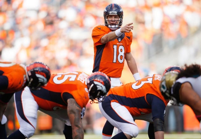 Oct 13, 2013; Denver, CO, USA; Denver Broncos quarterback Peyton Manning (18) signals at the line of scrimmage during the game against the Jacksonville Jaguars at Sports Authority Field at Mile High. Mandatory Credit: Chris Humphreys-USA TODAY Sports