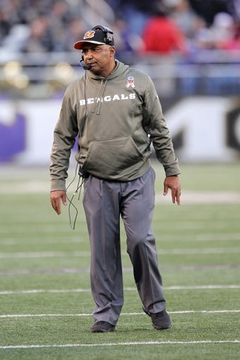 Nov 10, 2013; Baltimore, MD, USA;  Cincinnati Bengals head coach Marvin Lewis prior to the game against the Baltimore Ravens at M&T Bank Stadium. Mandatory Credit: Mitch Stringer-USA TODAY Sports