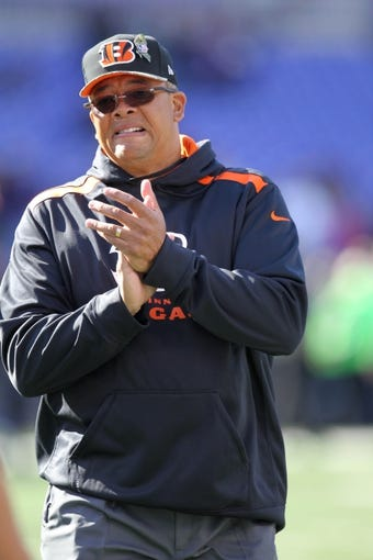 Nov 10, 2013; Baltimore, MD, USA;  Cincinnati Bengals coach Jay Hayes prior to the game against the Baltimore Ravens at M&T Bank Stadium. Mandatory Credit: Mitch Stringer-USA TODAY Sports