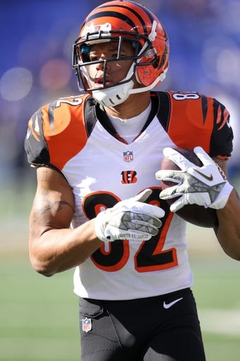Nov 10, 2013; Baltimore, MD, USA;  Cincinnati Bengals wide receiver Marvin Jones (82) warms up prior to the game against the Baltimore Ravens at M&T Bank Stadium. Mandatory Credit: Mitch Stringer-USA TODAY Sports