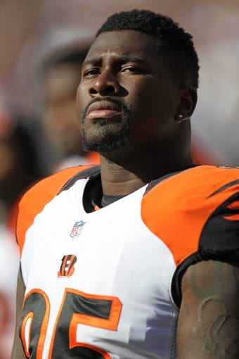 Nov 10, 2013; Baltimore, MD, USA;  Cincinnati Bengals defensive end Wallace Gilberry (95) watches from the sidelines prior to the game against the Baltimore Ravens at M&T Bank Stadium. Mandatory Credit: Mitch Stringer-USA TODAY Sports