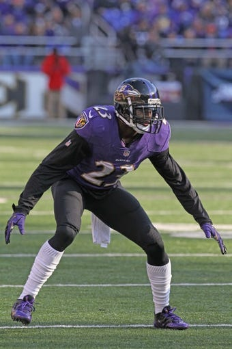 Nov 10, 2013; Baltimore, MD, USA; Baltimore Ravens safety Chykie Brown (23) in action against the Cincinnati Bengals at M&T Bank Stadium. Mandatory Credit: Mitch Stringer-USA TODAY Sports