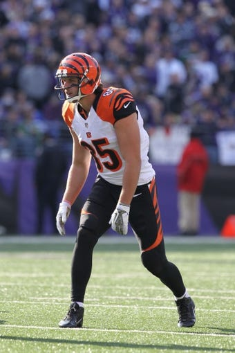 Nov 10, 2013; Baltimore, MD, USA;  Cincinnati Bengals tight end Tyler Eifert (85) in action against the Baltimore Ravens at M&T Bank Stadium. Mandatory Credit: Mitch Stringer-USA TODAY Sports