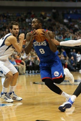 Nov 18, 2013; Dallas, TX, USA; Philadelphia 76ers guard Tony Wroten (8) drives against the Dallas Mavericks at American Airlines Center. Mandatory Credit: Matthew Emmons-USA TODAY Sports