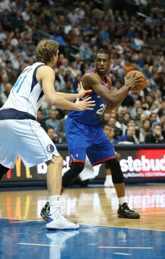 Nov 18, 2013; Dallas, TX, USA; Philadelphia 76ers forward Thaddeus Young (21) in action against the Dallas Mavericks at American Airlines Center. Mandatory Credit: Matthew Emmons-USA TODAY Sports