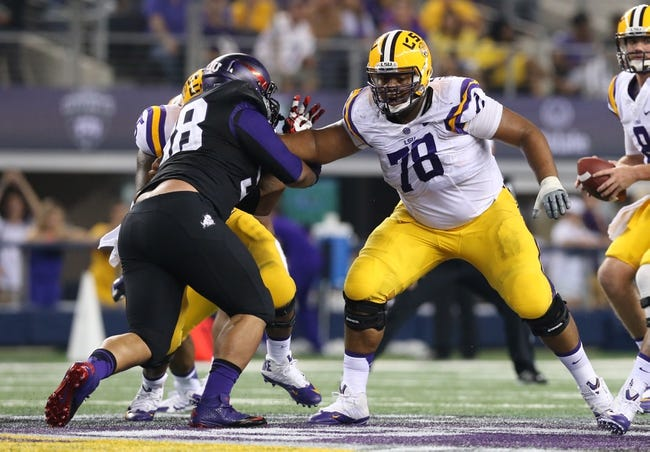 Aug 31, 2013; Arlington, TX, USA; LSU Tigers tackle Vadal Alexander (78) in action against the Texas Christian Horned Frogs at AT&T Stadium. Mandatory Credit: Matthew Emmons-USA TODAY Sports