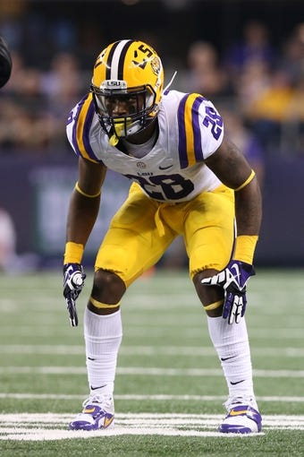 Aug 31, 2013; Arlington, TX, USA; LSU Tigers cornerback Jalen Mills (28) in action against theTexas Christian Horned Frogs at AT&T Stadium. Mandatory Credit: Matthew Emmons-USA TODAY Sports