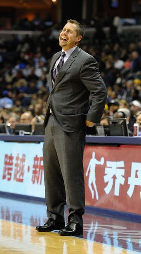 Nov 25, 2013; Memphis, TN, USA; Memphis Grizzlies head coach David Joerger during the game against the Houston Rockets during the third quarter at FedExForum. Mandatory Credit: Justin Ford-USA TODAY Sports