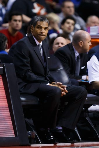 Nov 25, 2013; Auburn Hills, MI, USA; Detroit Pistons head coach Maurice Cheeks watches from the bench in the second half against the Milwaukee Bucks at The Palace of Auburn Hills. Mandatory Credit: Rick Osentoski-USA TODAY Sports