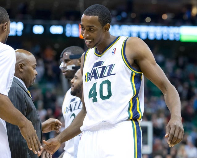 Nov 25, 2013; Salt Lake City, UT, USA; Utah Jazz small forward Jeremy Evans (40) leaves the court after defeating the Chicago Bulls 89-83 in overtime at EnergySolutions Arena. Mandatory Credit: Russ Isabella-USA TODAY Sports