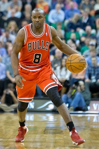 Nov 25, 2013; Salt Lake City, UT, USA; Chicago Bulls point guard Mike James (8) controls the ball during the first half against the Utah Jazz at EnergySolutions Arena. The Jazz won 89-83 in overtime. Mandatory Credit: Russ Isabella-USA TODAY Sports