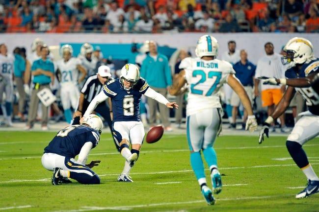 Nov 17, 2013; Miami Gardens, FL, USA; San Diego Chargers kicker Nick Novak (9) kicks a field goal against the Miami Dolphins at Sun Life Stadium. The Dolphins won the game 20-16. Mandatory Credit: Joe Camporeale-USA TODAY Sports