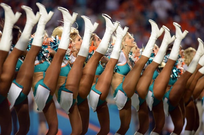Nov 17, 2013; Miami Gardens, FL, USA; The Miami Dolphins cheerleaders perform against the San Diego Chargers at Sun Life Stadium. The Dolphins won the game 20-16. Mandatory Credit: Joe Camporeale-USA TODAY Sports