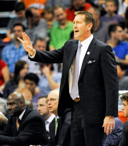 Nov 8, 2013; Phoenix, AZ, USA; Phoenix Suns head coach Jeff Hornacek instructs his players during the second quarter against the Denver Nuggets at US Airways Center. Mandatory Credit: Casey Sapio-USA TODAY Sports