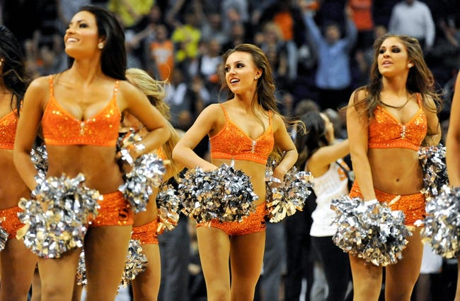 Nov 8, 2013; Phoenix, AZ, USA; Phoenix Suns dancers perform during the fourth quarter against the Denver Nuggets at US Airways Center. Mandatory Credit: Casey Sapio-USA TODAY Sports
