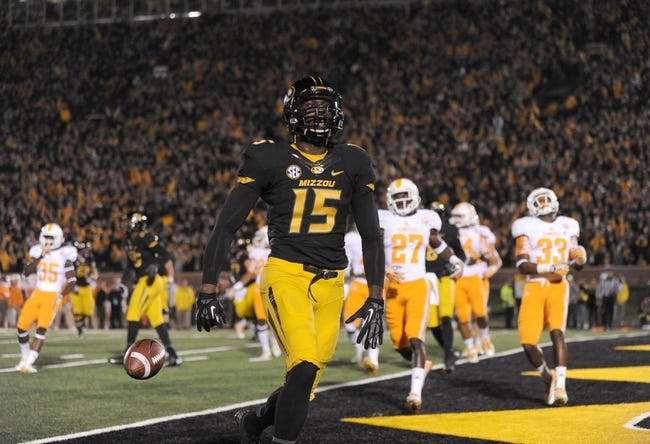 Nov 2, 2013; Columbia, MO, USA; Missouri Tigers wide receiver Dorial Green-Beckham (15) celebrates after scoring a touchdown during the first half of the game against the Tennessee Volunteers at Faurot Field. Missouri won 31-3. Mandatory Credit: Denny Medley-USA TODAY Sports