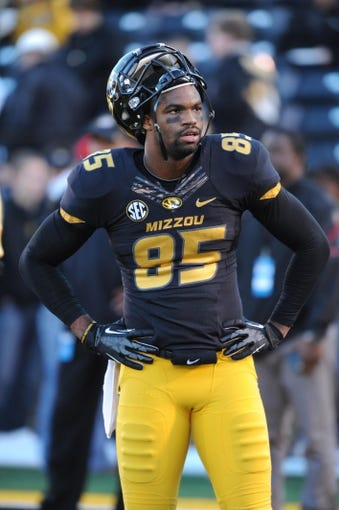 Nov 2, 2013; Columbia, MO, USA; Missouri Tigers wide receiver Marcus Lucas (85) warms up before the game against the Tennessee Volunteers at Faurot Field. Missouri won 31-3. Mandatory Credit: Denny Medley-USA TODAY Sports