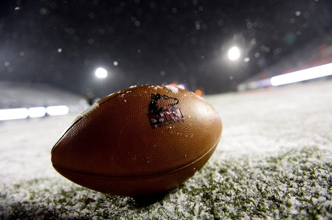 Nov 26, 2013; DeKalb, IL, USA; A detailed view of a Northern Illinois Huskies football before the game against the Western Michigan Broncos at Huskie Stadium. Mandatory Credit: Mike DiNovo-USA TODAY Sports