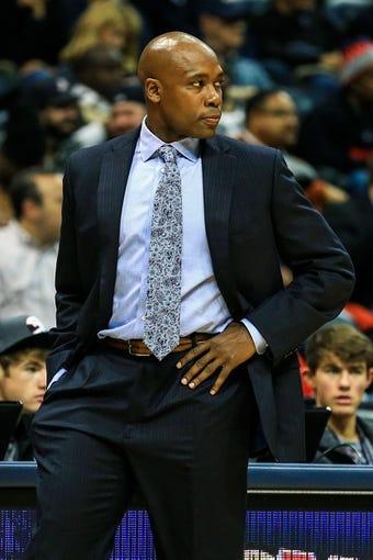 Nov 26, 2013; Atlanta, GA, USA; Orlando Magic head coach Jacque Vaughn coaches in the first quarter against the Atlanta Hawks at Philips Arena. Mandatory Credit: Daniel Shirey-USA TODAY Sports