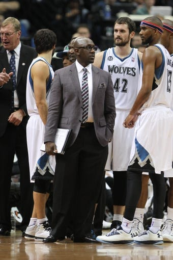 Nov 8, 2013; Minneapolis, MN, USA; Minnesota Timberwolves assistant coach Bobby Jackson against the Dallas Mavericks at Target Center. The Timberwolves defeated the Mavericks 116-108. Mandatory Credit: Brace Hemmelgarn-USA TODAY Sports
