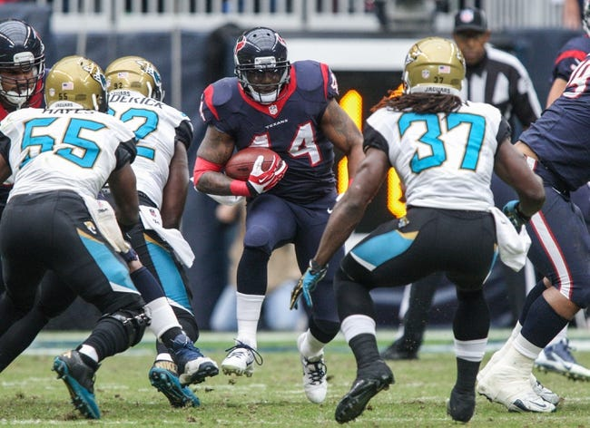 Nov 24, 2013; Houston, TX, USA; Houston Texans running back Ben Tate (44) rushes during the first quarter against the Jacksonville Jaguars at Reliant Stadium. Mandatory Credit: Troy Taormina-USA TODAY Sports