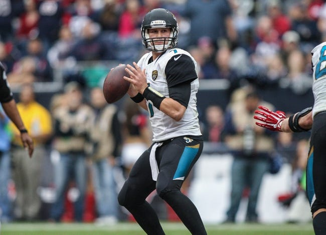 Nov 24, 2013; Houston, TX, USA; Jacksonville Jaguars quarterback Chad Henne (7) looks for an open receiver during the second quarter against the Houston Texans at Reliant Stadium. Mandatory Credit: Troy Taormina-USA TODAY Sports
