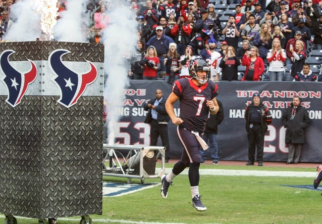 Nov 24, 2013; Houston, TX, USA; Houston Texans quarterback Case Keenum (7) runs onto the field before a game against the Jacksonville Jaguars at Reliant Stadium. Mandatory Credit: Troy Taormina-USA TODAY Sports