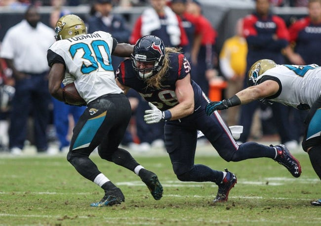 Nov 24, 2013; Houston, TX, USA; Houston Texans outside linebacker Brooks Reed (58) attempts to make a tackle on Jacksonville Jaguars running back Jordan Todman (30) during the third quarter at Reliant Stadium. Mandatory Credit: Troy Taormina-USA TODAY Sports