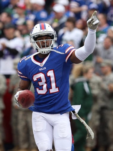 Nov 17, 2013; Orchard Park, NY, USA; Buffalo Bills free safety Jairus Byrd (31) against the New York Jets at Ralph Wilson Stadium. Mandatory Credit: Timothy T. Ludwig-USA TODAY Sports
