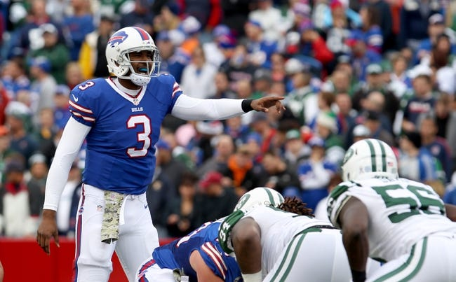 Nov 17, 2013; Orchard Park, NY, USA; Buffalo Bills quarterback EJ Manuel (3) calls a play during a game against the New York Jets at Ralph Wilson Stadium. Mandatory Credit: Timothy T. Ludwig-USA TODAY Sports