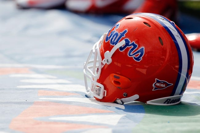 Nov 9, 2013; Gainesville, FL, USA;Florida Gators helmet against the Vanderbilt Commodores during the first quarter at Ben Hill Griffin Stadium. Mandatory Credit: Kim Klement-USA TODAY Sports