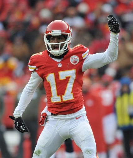 Nov 24, 2013; Kansas City, MO, USA; Kansas City Chiefs wide receiver Donnie Avery (17) calls for pass interference during the second half of the game against the San Diego Chargers at Arrowhead Stadium. The Chargers won 41-38. Mandatory Credit: Denny Medley-USA TODAY Sports