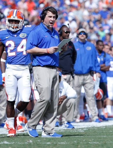 Nov 9, 2013; Gainesville, FL, USA; Florida Gators head coach Will Muschamp against the Vanderbilt Commodores during the first quarter at Ben Hill Griffin Stadium. Mandatory Credit: Kim Klement-USA TODAY Sports