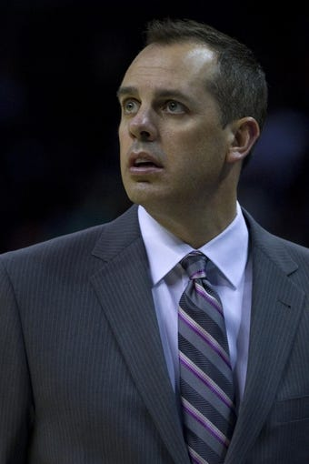 Nov 27, 2013; Charlotte, NC, USA; Indiana Pacers head coach Frank Vogel reacts during the first quarter against the Charlotte Bobcats at Time Warner Cable Arena. Mandatory Credit: Joshua S. Kelly-USA TODAY Sports