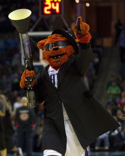 Nov 27, 2013; Charlotte, NC, USA; Charlotte Bobcats mascot during the second quarter against the Indiana Pacers at Time Warner Cable Arena. Mandatory Credit: Joshua S. Kelly-USA TODAY Sports