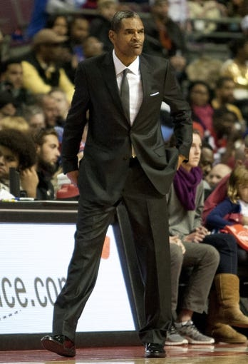 Nov 27, 2013; Auburn Hills, MI, USA; Detroit Pistons head coach Maurice Cheeks looks on during the fourth quarter against the Chicago Bulls at The Palace of Auburn Hills. Bulls beat the Pistons 99-79. Mandatory Credit: Raj Mehta-USA TODAY Sports