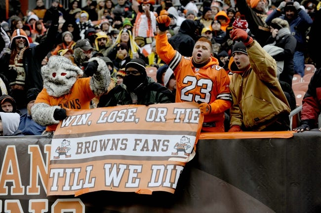 Nov 24, 2013; Cleveland, OH, USA; Cleveland Browns fans cheer against the Pittsburgh Steelers at FirstEnergy Stadium. Mandatory Credit: Ken Blaze-USA TODAY Sports