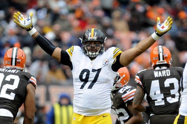 Nov 24, 2013; Cleveland, OH, USA; Pittsburgh Steelers defensive end Cameron Heyward (97) against the Cleveland Browns at FirstEnergy Stadium. Mandatory Credit: Ken Blaze-USA TODAY Sports