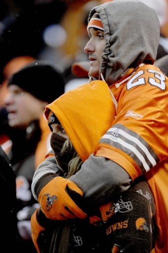 Nov 24, 2013; Cleveland, OH, USA; Cleveland Browns fans watch as the Browns lose to the Pittsburgh Steelers at FirstEnergy Stadium. Mandatory Credit: Ken Blaze-USA TODAY Sports
