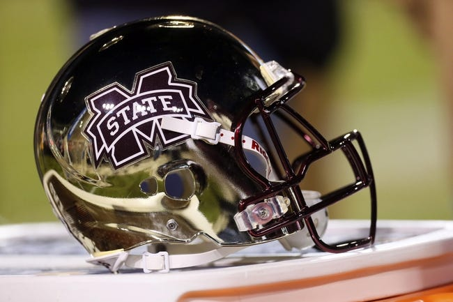 Nov 28, 2013; Starkville, MS, USA; Mississippi State Bulldogs helmet during the game against the Mississippi Rebels at Davis Wade Stadium. Mandatory Credit: Spruce Derden-USA TODAY Sports