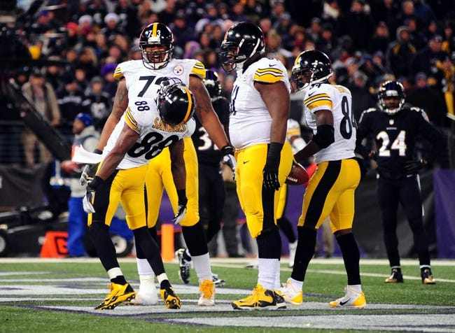 Nov 28, 2013; Baltimore, MD, USA; Pittsburgh Steelers wide receiver Emmanuel Sanders (88) dances after scoring a touchdown against the Baltimore Ravens during a NFL football game on Thanksgiving at M&T Bank Stadium. Mandatory Credit: Evan Habeeb-USA TODAY Sports