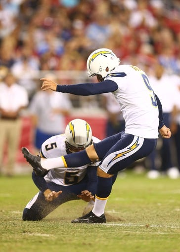 Aug. 24, 2013; Glendale, AZ, USA: San Diego Chargers kicker Nick Novak (9) against the Arizona Cardinals during a preseason game at University of Phoenix Stadium. Mandatory Credit: Mark J. Rebilas-USA TODAY Sports