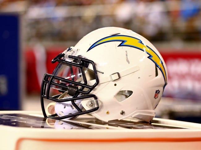 Aug. 24, 2013; Glendale, AZ, USA: Detailed view of a San Diego Chargers helmet against the Arizona Cardinals during a preseason game at University of Phoenix Stadium. Mandatory Credit: Mark J. Rebilas-USA TODAY Sports
