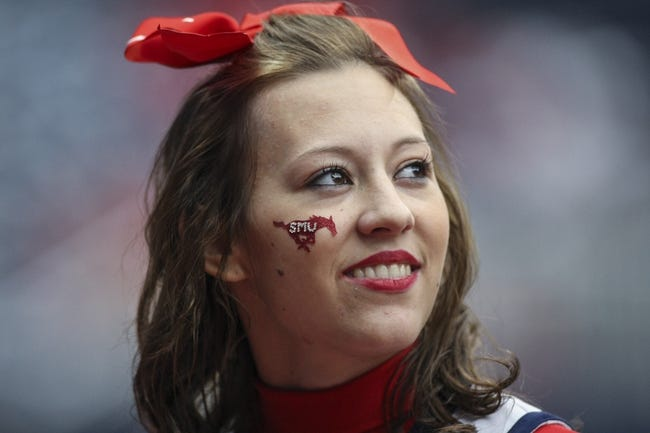 Nov 29, 2013; Houston, TX, USA; A Southern Methodist Mustangs cheerleader smiles during the fourth quarter against the Houston Cougars at Reliant Stadium. Mandatory Credit: Troy Taormina-USA TODAY Sports